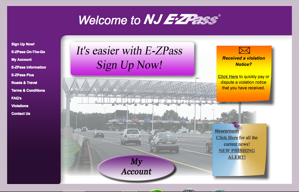The NJ E-ZPass Website